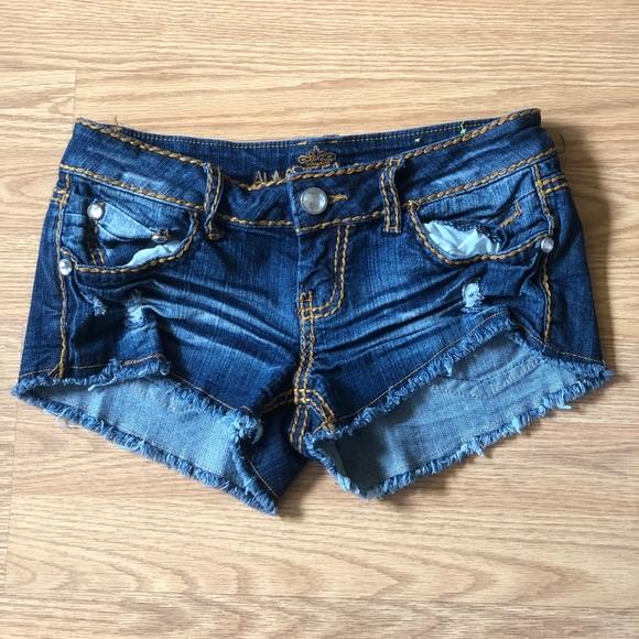 almost famous Pants - Almost famous Junior size 3 Blue Distressed Shorts